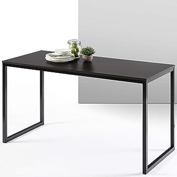 ZINUS Jennifer 55 Inch Computer Workstation / Office Desk - Black Frame & Deep Espresso Top