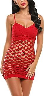 Avidlove Women's Fishnet Lingerie Mesh Hole Strap Chemise Babydoll Mini Dress