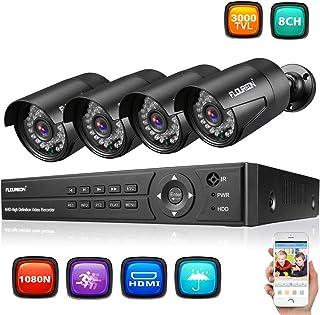 FLOUREON DVR Video Kit de vigilancia (8CH 1080N AHD HDMI DVR + 4 * 1080P 3000TVL 2.0MP cámara Exterior) Copia de Seguridad USB Alarma por Correo electrónico Sistema de Seguridad