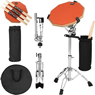 Drum Practice Pads, AGPTEK 12 Inches Orange Double Sided Drum Pads Drum Practice Pad Set with Adjustable Snare Drum Stand, 3 Paris of Drum Sticks, Drum Stick Holder and Carrying Bag