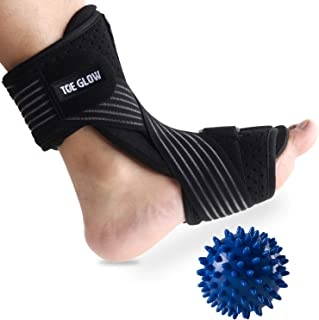 Plantar Fasciitis Night Splint Foot Drop Orthotic Supports Kit Adjustable Dorsal Night Splint Support Sleep, Recovery, Tendonitis, Arthritis with Hard Spiky Massage Ball (Black)