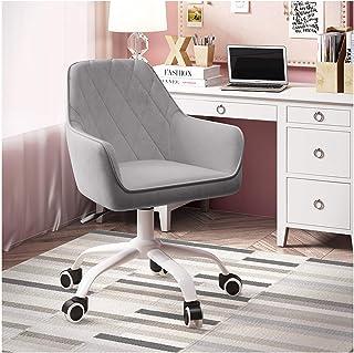 Silla escritorio ufficio ergonomica Silla, cojín de asiento grueso para ejecutivo, dibujo, juegos u oficina Taburete de escritorio ajustable de tela de terciopelo Reposabrazos y ruedas con respaldo