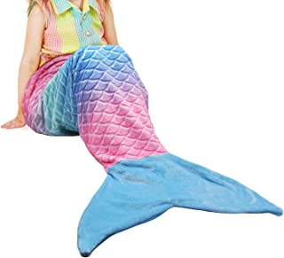 Catalonia Kids Mermaid Tail Blanket,Super Soft Plush Flannel Sleeping Snuggle Blanket for Girls,