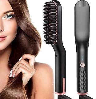Monlida Cepillo Alisador de Pelo y Barba 3 en 1 Profesional Multifuncional Cepillo Pelo Alisador Eléctrico para Hombres y Mujeres