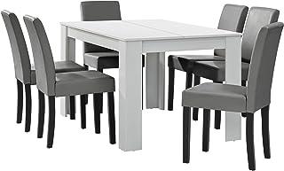 [en.casa] Table à Manger Blanc Mat avec 6 chaises Gris Brilliant Cuir synthétique rembourré 140x90
