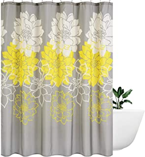 Wimaha Peony Flower Fabric Shower Curtain Water Resistant Standard Shower Bath Curtain for Bathroom, Shower, Bathtub, Yellow and Grey, 72 x 72
