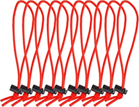 POWRIG 6 Bungee Cords Adjustable Cable Ties Cable management Reusable -Red (10-pack)