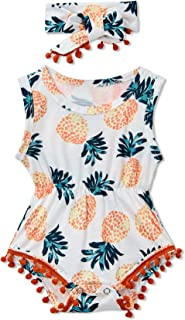 Newborn Toddler Baby Girl Floral Bodysuit Romper Summer Casual Outfit + Headband