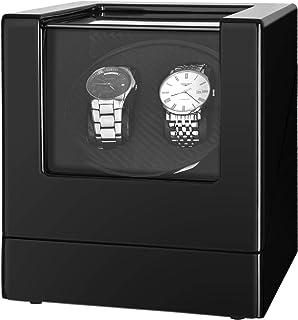 Kalawen - Caja de doble reloj automático para todos los relojes mecánicos automáticos con motor silencioso AC adaptador o batería para 2 hombres o mujeres, color negro