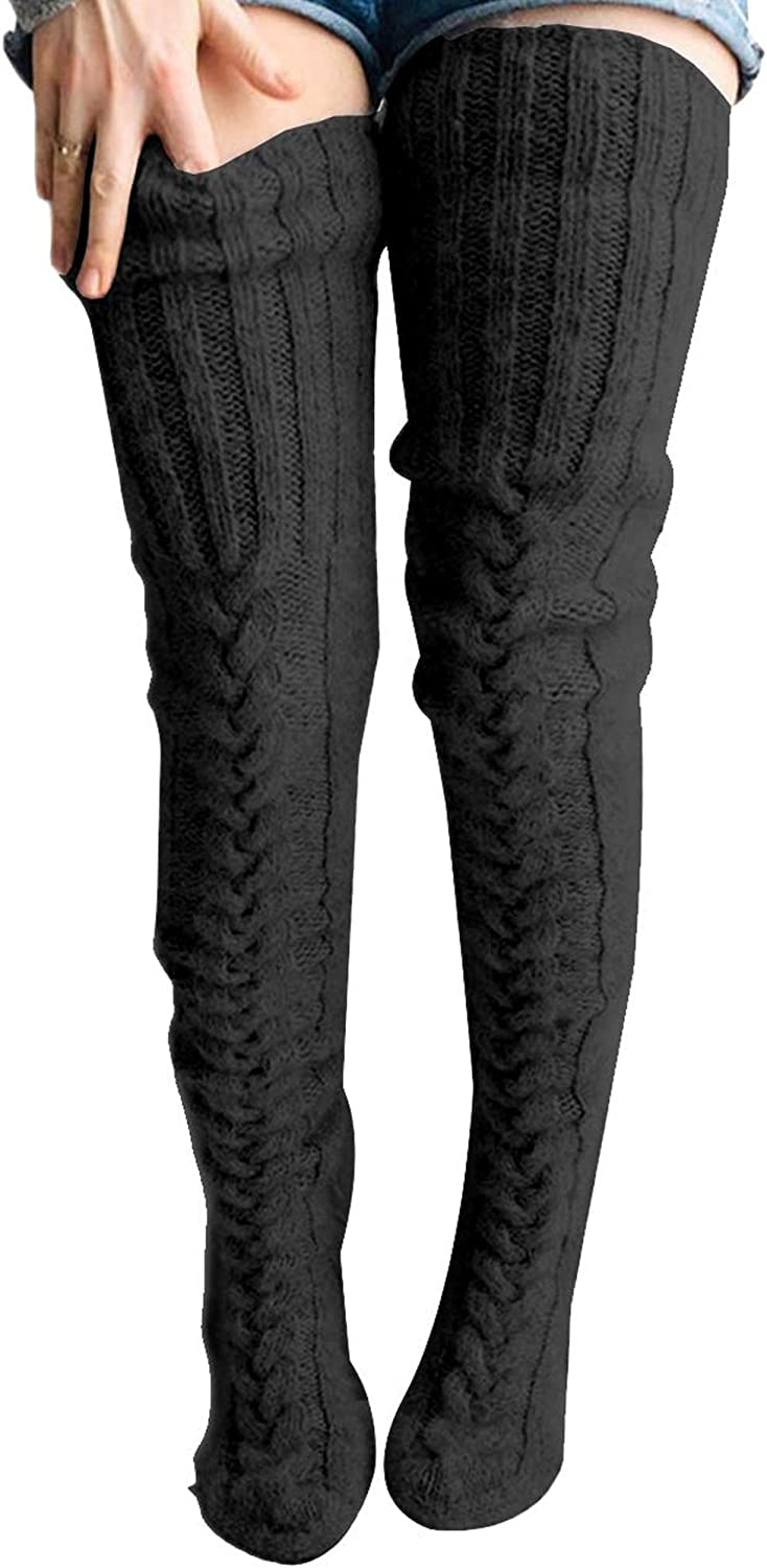 Women's Winter Over Knee Long Stockings Leg Warmers Cable Knitted High Boot Socks