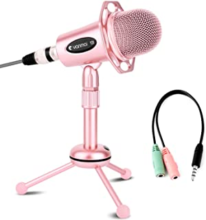 Professional Condenser Microphone, Venoro Plug & Play Microphone with Tripod for PC, Computer, Phone for Games, Podcast, Broadcasting (Rose Gold)