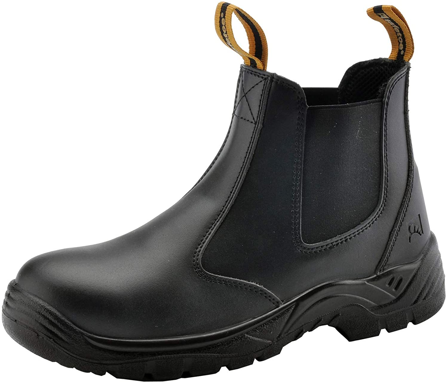 Mens excellence Work Boots Easy-to-use Steel Toe Chelsea Leather Water Cow Safety