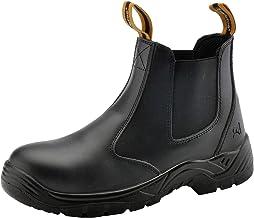 Sapato de trabalho unissex SAFETOE com bico de aço - M8025 preto masculino e feminino de couro de ajuste largo impermeável...