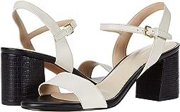 Ivory Leather/Black Embossed Leather Heel
