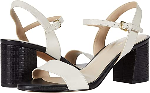 Ivory Leather/Black Embossed Leather Heel