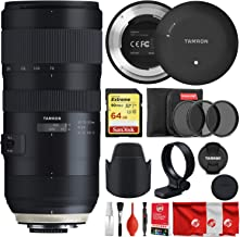 Tamron SP 70-200mm F/2.8 Di VC USD G2 for Canon Bundle with Tap in Console + Lens Hood + Case + 64GB Sandisk Extreme Memory Card + 3-Piece Filter and 8-Piece Cleaning Kit