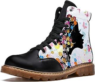 LORVIES Fleur de Papillon Coiffure Florale Bottes d'hiver Chaussures Montantes en Toile à Lacets pour Hommes