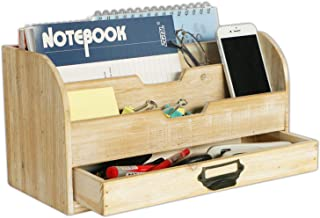 $25 » EMAISON Wooden Mail Organizer, 3 Tier Office Desk File Sorter with Drawer for Letters, Envelopes, Magazines, File Folders or Office Supplies (Rustic Nature, 13 x 6 x 7 Inch)