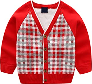 Tulucky Cardigan Sweaters Cute Grid V-Neck Long Sleeve Knitted Outwear for Little Girl Boy