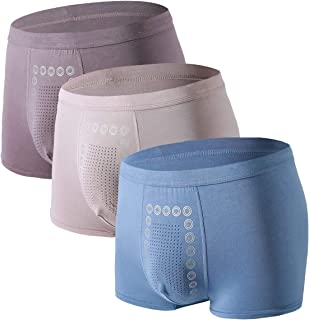 Moonmen Mens Underwear Boxer Briefs Soft Breathable Cotton Modal 3-Pack Underwear Shorts Trunks Anti-Bacteria