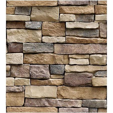 TJLMCORP—White Gray Brick Wallpaper Grey Self-Adhesive Wallpaper Home Decoration Peel and Stick Backsplash Wall Panel Door Stickers Christmas Decor (45cmx300cm) (Rock Brick)