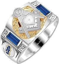 US Jewels And Gems Customizable Men's Solid Back Two Tone 14k Gold Simulated Sapphire Freemason Masonic Ring