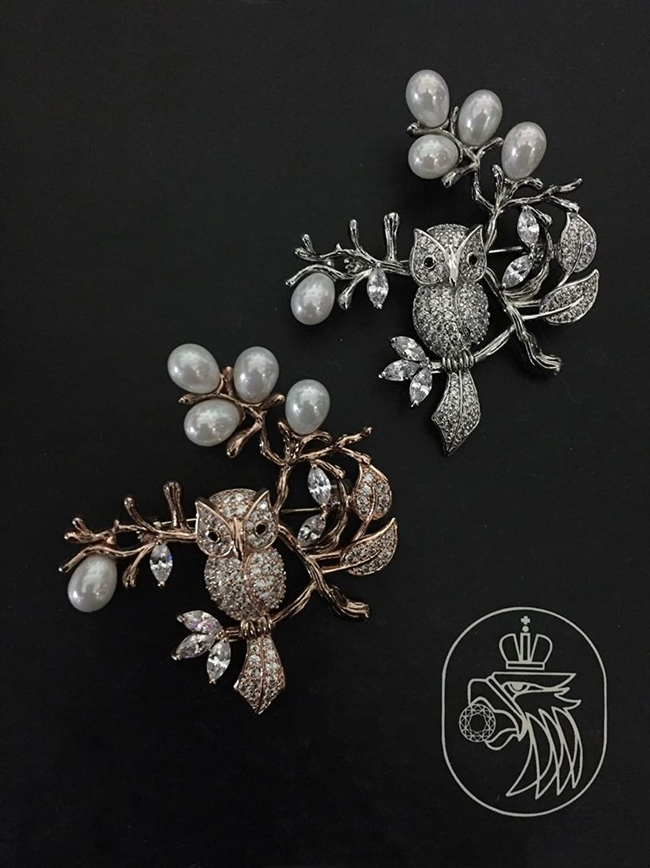 Owl Tree Zircon Brooch pin Badge Pearl Coat Jacket Suits Little Black Dress with Jewelry Sweater
