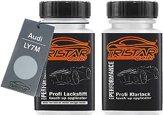 TRISTARcolor Autolack Lackstift Set für Audi LY7M Alusilver Metallic/Alusilber Metallic Basislack Klarlack je 50ml
