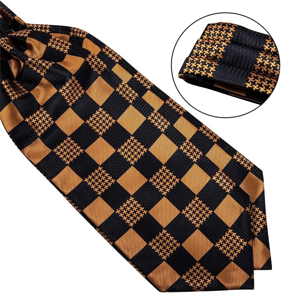 SKREOJF Gold Check Black Silk Pocket Square Cravat Formal Dress Wedding Men Vintage Self Tie British Style Necktie (Color : A, Size : One size)