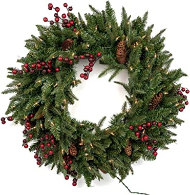 """Vita Domi 30"""" Wellington Fir Pine Spruce Decorative Wreath 2 Tone Green with 70 Clear Lights and 400 Tips (Clear Lights)"""