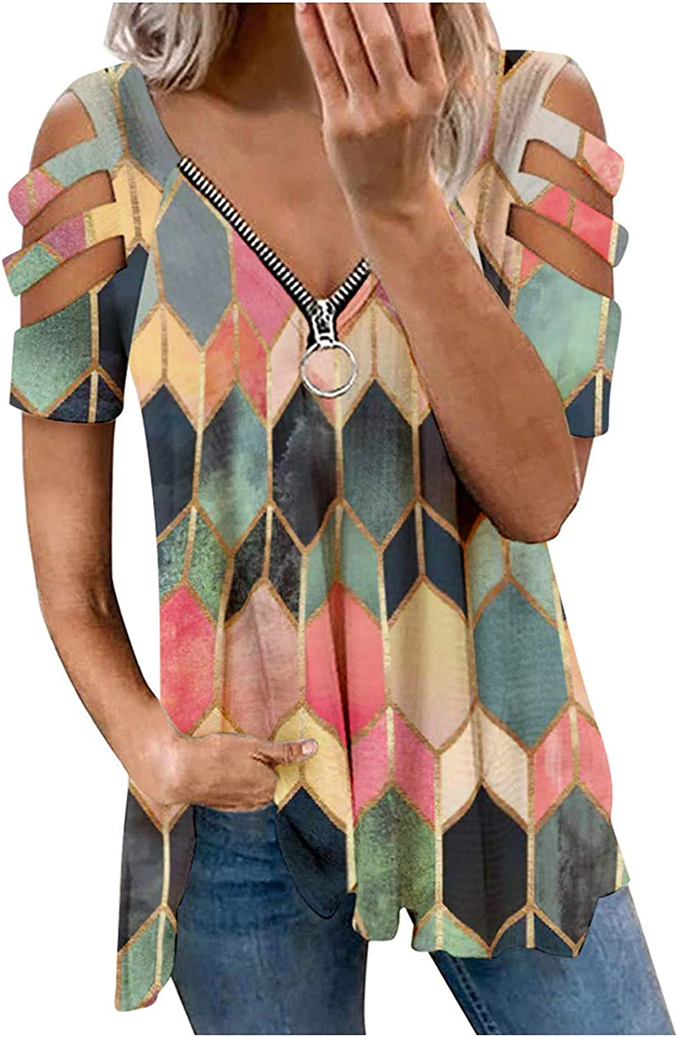 Womens Tops Geometric Print Loose Short Sleeve Zipper Hollow Out Blouse Vacation Beach Casual Comfy Tunic