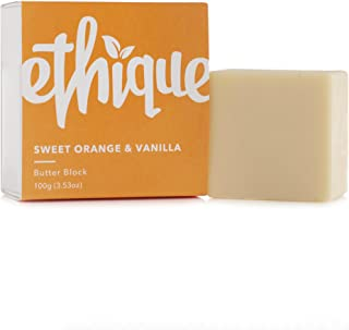 Ethique Eco-Friendly Solid Butter Block, Sweet Orange & Vanilla - Hydrating Solid Body Lotion, Sustainable Natural Lotion Bar, Plastic Free, Vegan, Plant Based, 100% Compostable and Zero Waste, 3.53oz