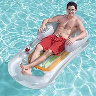 GT Inflatable Floating Row Floating Bed Water Cushion with Drink Holders Hammock Lounge Inflatable Rafts Swimming Pool Air...