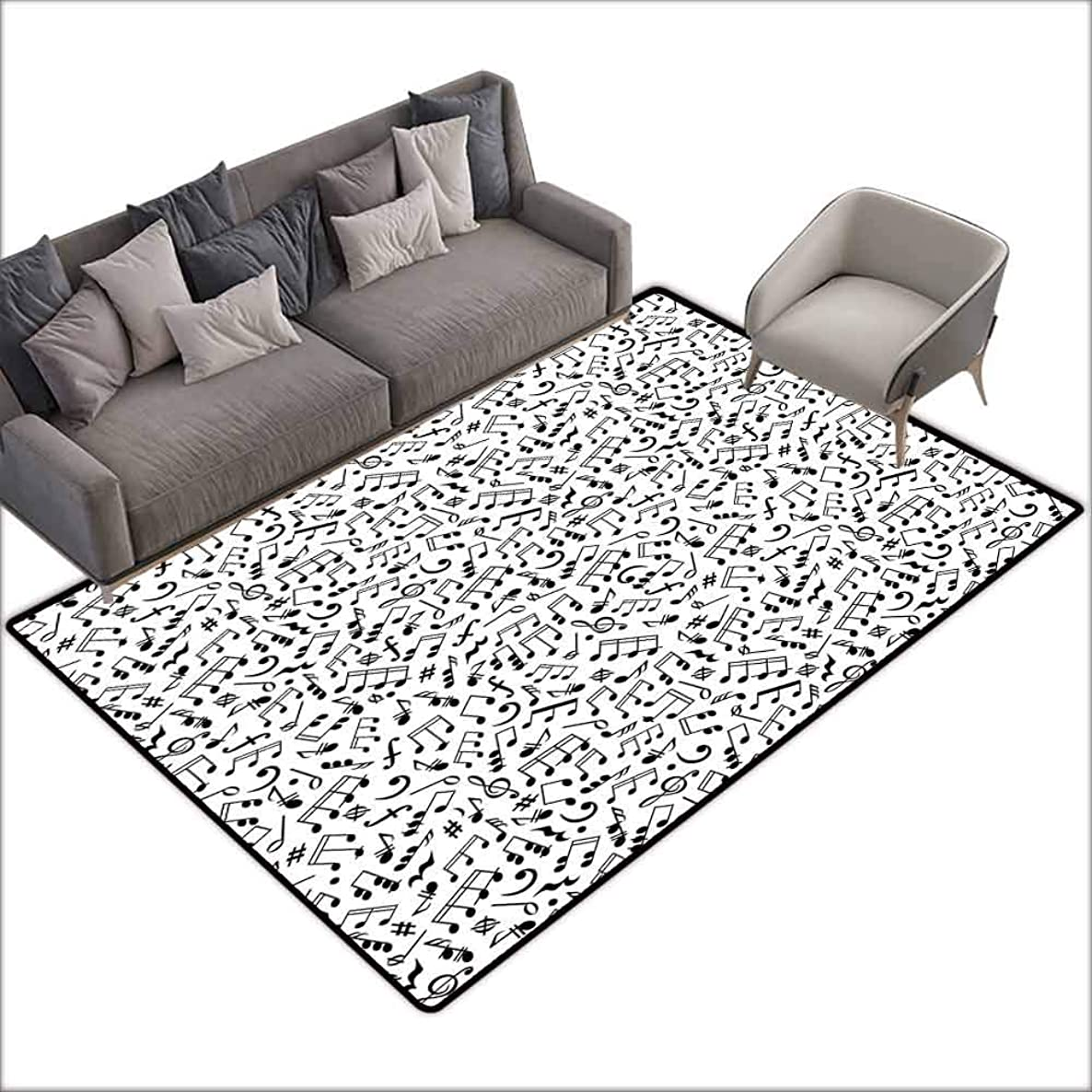 Large Floor Mats for Living Room Colorful Black and White,Musical Composition with Notes Quavers Chords Treble Clefs Sheet Elements,Black White 80