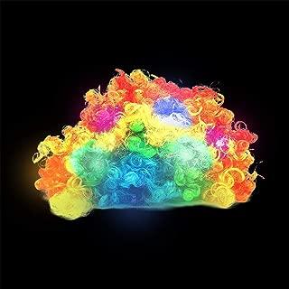 Fun Central LED Light Up Rainbow Afro Wig Headband - Flashing Clown Wig Halloween Costume Accessories