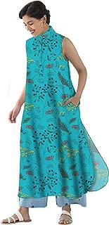 RADANYA Floral Print Sleeveless Casual Tunic Long Tops Tunic for Womens
