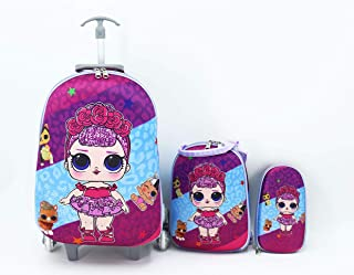 LOL Surprise Pink Kids' School bag trolley Rolling travel bag set of 3 17inch 3-12years olds (3-IN-1 Purple, Purple)