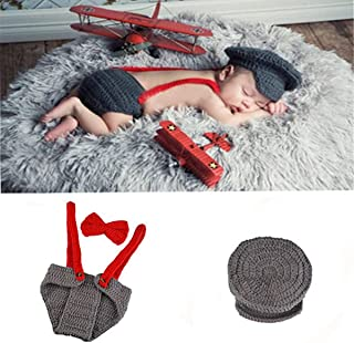 Newborn Baby Boy Costume Handmade Crochet Knitted Clothes Photo Photography Prop Cap Beanie with Suspenders Bowtie Diaper Outfit