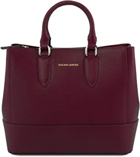 TLBag Saffiano leather handbag Bordeaux