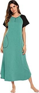 Long Nightgown,Women's Loungewear Short Sleeve Sleepwear Full Length Sleep Shirt with Pockets