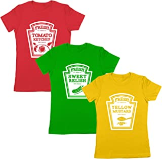Ketchup Mustard Relish Condiments Matching Group Halloween Costume Womens Shirt