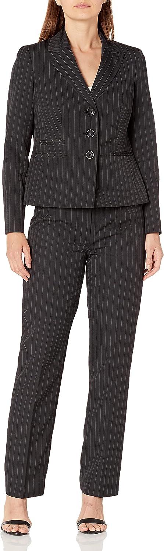 Le Suit Women's 3 Button Notch Collar Wide Pinstripe Pant Suit