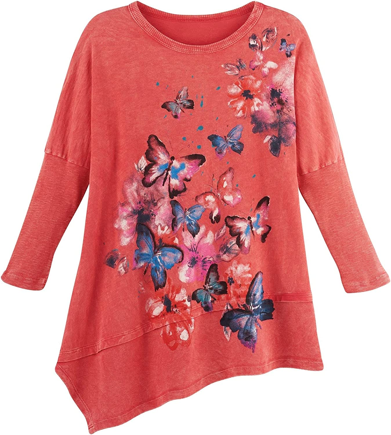 Jess & Jane Women's Butterfly Tunic - Asymmetrical Coral Floral Top, 3/4 Sleeve