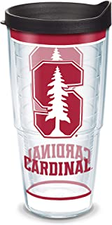 Tervis Stanford Cardinal Tradition Insulated Tumbler with Wrap and Black Lid, 24oz, Clear