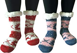 Womens Winter Thick Knit Sherpa Fleece Lined Thermal Fuzzy Non Skid/Slip Indoor Slipper Socks