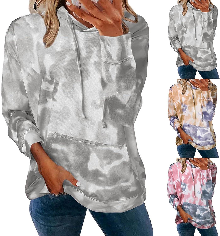Fudule Long Sleeve Shirts for Women, 2021 Fashion Tie Dye Sweatshirt Casual Loose Hoodies with Pocket Lightweight Tops