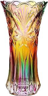 VOSAREA Vase de fleurs en cristal arc-en-ciel transparent et coloré - Décoration pour Noël, dîner, table, pièce maîtresse ...