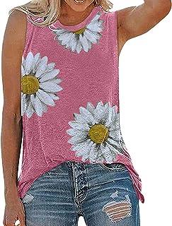 XIHUANNI Women Casual Summer Tank Tops, Women's Sunflower Cute Printed Vest T-shirt, Sleeveless Workout Blouse Tank Top Tu...