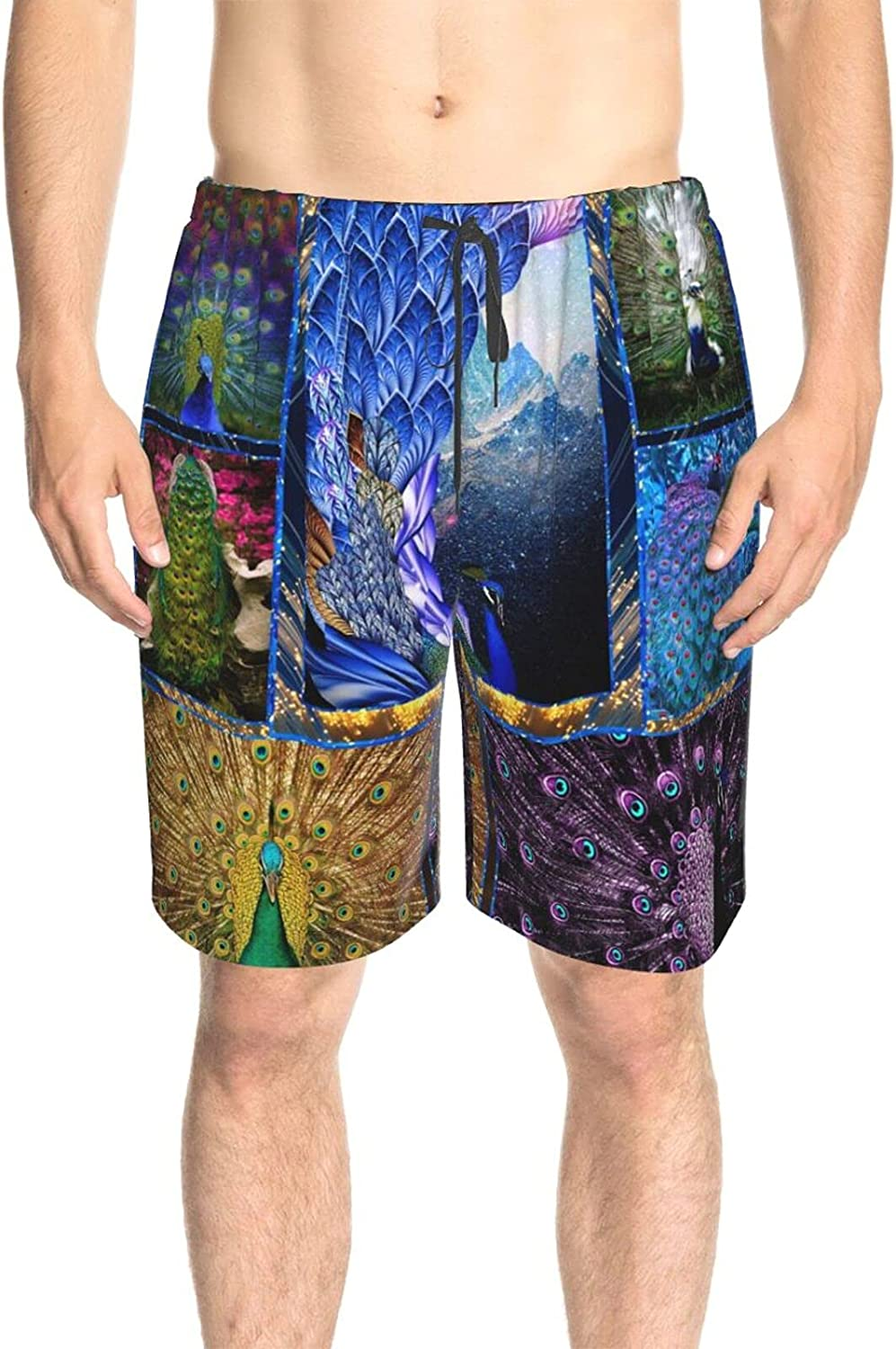 JINJUELS Men's Swim Shorts Gorgeous Peacock Beach Board Shorts Quick Dry Cool Summer Boardshorts with Lining