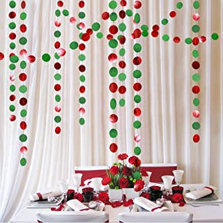 Glitter Green and Red Circle Dots Garland Kit for Xmas Party Hanging Decoration/Streamers/Flag/Banner/Christmas Tree Garlands for New Year Eve Celebration/Birthday/Wedding/Baby Shower/Holiday Decor